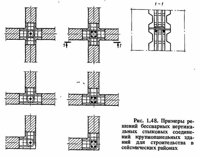 Рис. 1.48. Примеры решений бессварных вертикальных стыковых соединений