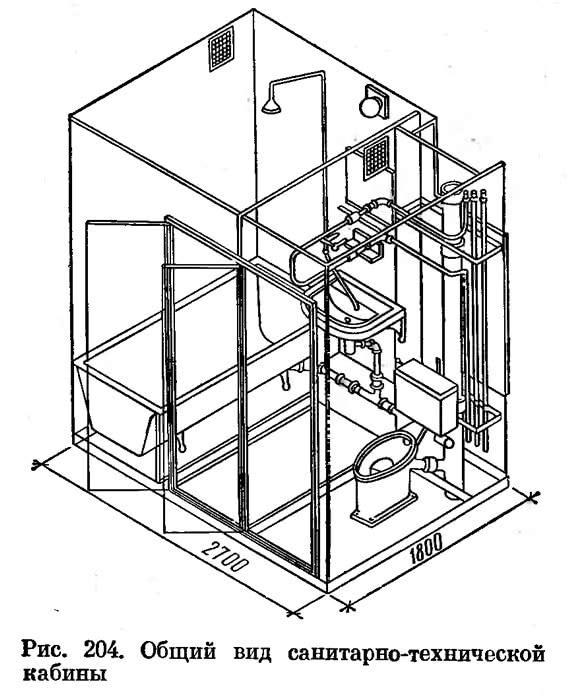 Рис. 204. Общий вид санитарно-технической кабины