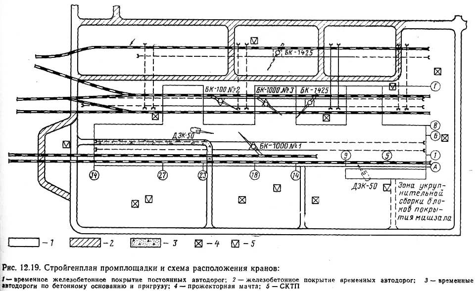 Рис. 12.19. <a href='https://kran-info.ru/b/book/6/page/8-viii-stroygenplan/' target='_blank' rel='external'>Стройгенплан</a> промплощадки и схема расположения кранов