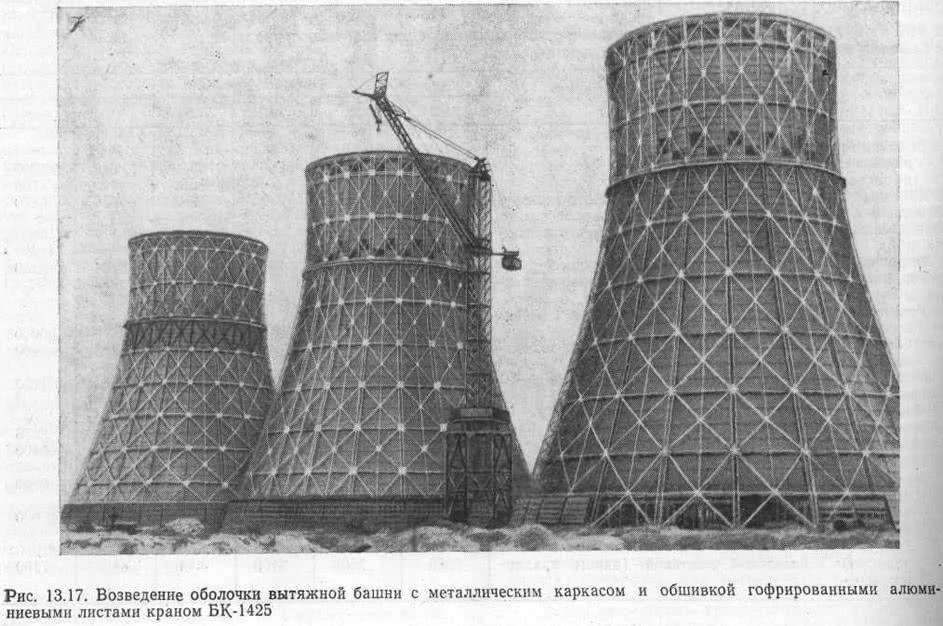 Рис. 13.17. Возведение оболочки вытяжной башни с металлическим каркасом