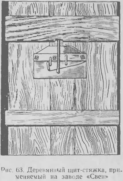 Рис. 63. Деревянный щит-стяжка применяемый на заводе «Свен»