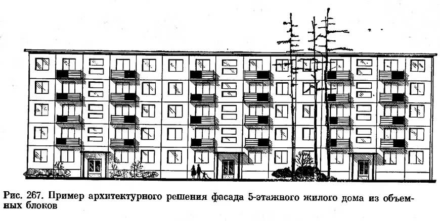 Рис. 267. Пример архитектурного решения фасада 5-этажного жилого дома из объемных блоков