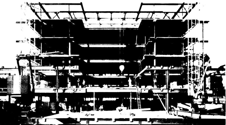 Монтаж несущих конструкций с продвижением строительства в продольном направлении здания
