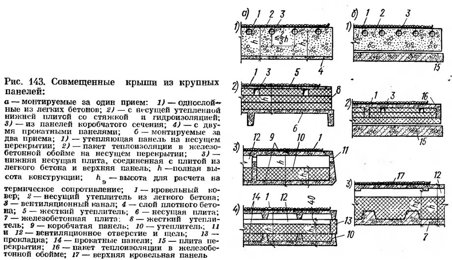 Рис. 143. Совмещенные крыши из крупных панелей
