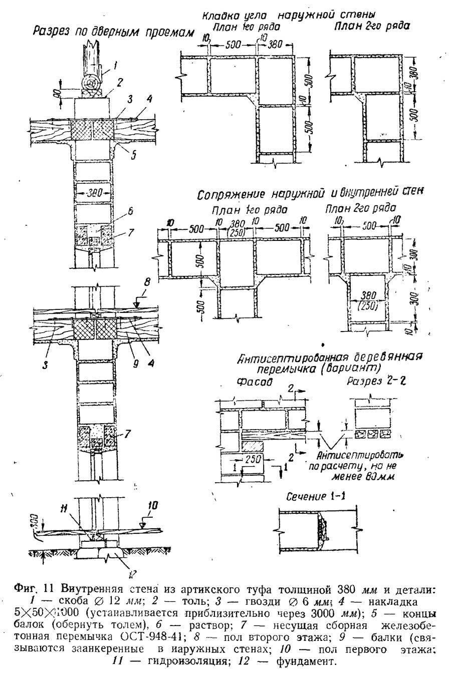 Фиг. 11. Внутренняя стена из артикского туфа толщиной 380 мм и детали