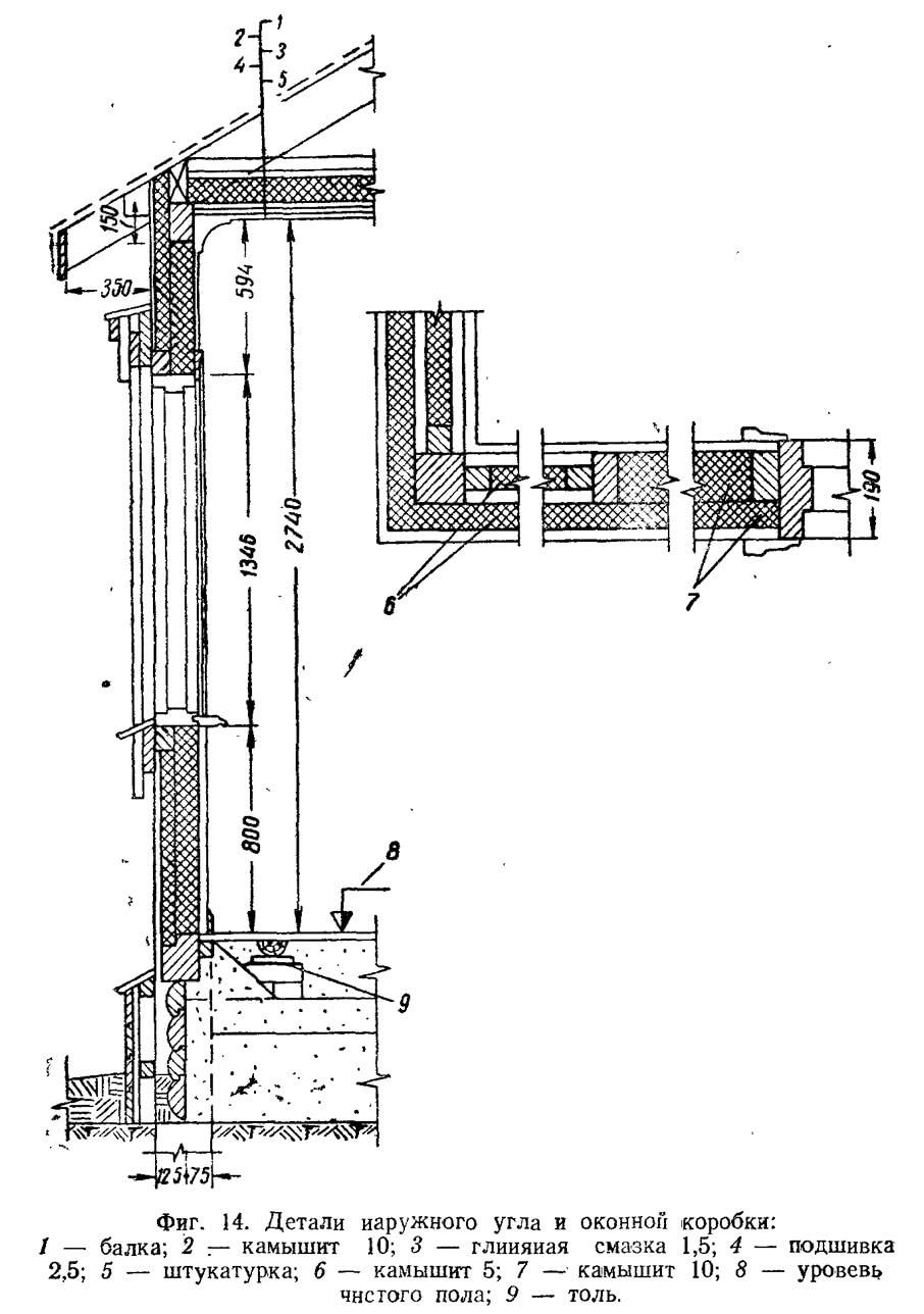 Фиг. 14. Детали наружного угла и оконной коробки