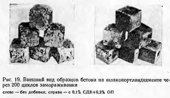 Рис. 19. Внешний вид образцов бетона через 200 циклов замораживания