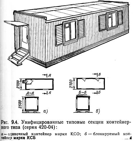 Ряс. 9.4. Унифицированные типовые секции контейнерного типа (серия 420-04)