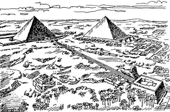 Гизе. Панорама с пирамидами Хеопса и Хефрена