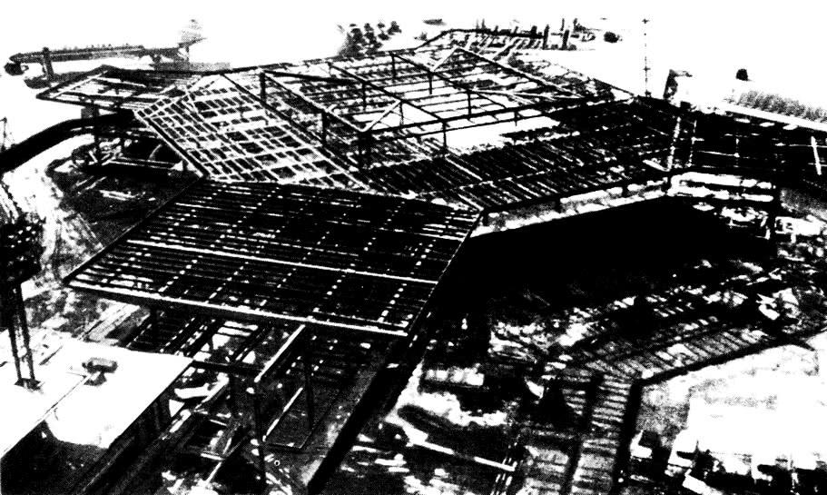 Стальная несущая конструкция с частично забетонированным перекрытием