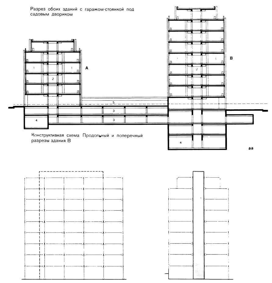 Конструктивная схема и разрез здания