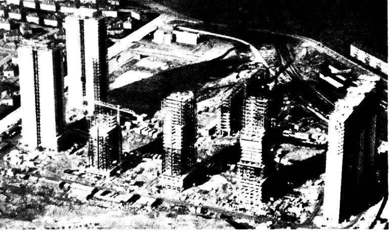 Жилой квартал со зданиями, находящимися в различной стадии строительства