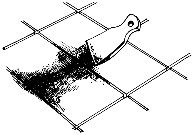 Рисунок 14. Затирка швов резиновым шпателем