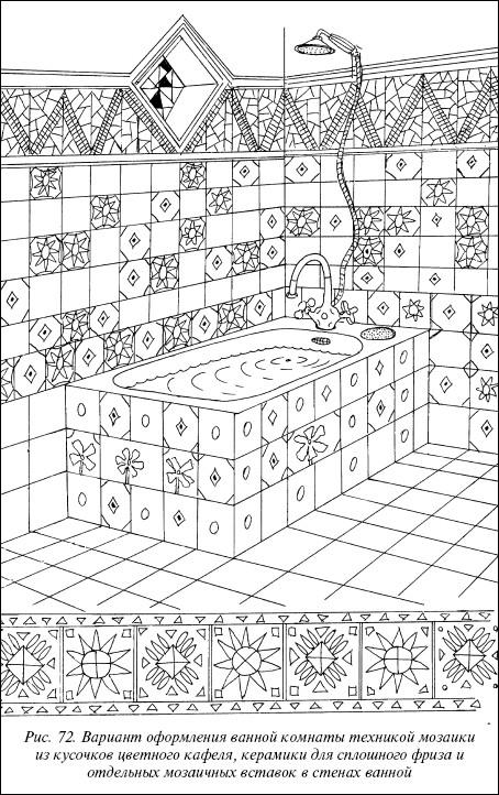 Рис.72. Вариант оформления ванной комнаты техникой мозаики из кусочков цветного кафеля, керамики для сплошного фриза и отдельных мозаичных вставок в стенах ванной