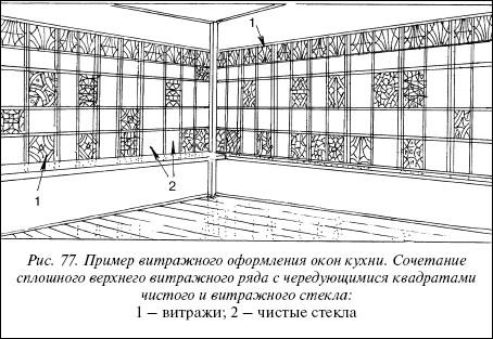Рис.77. Пример витражного оформления окон кухни. Сочетание сплошного верхнего витражного ряда с чередующимися квадратами чистого и витражного стекла: