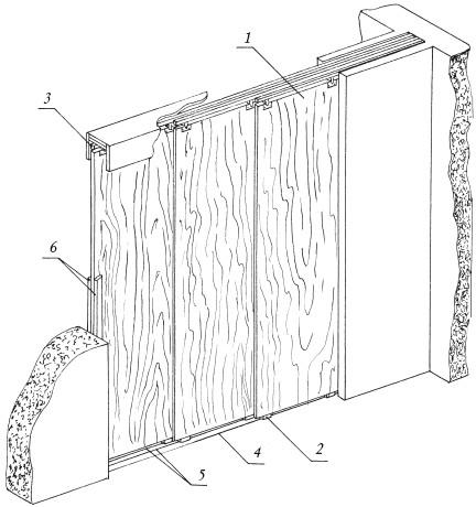 Рис.26. Устройство трехстворчатой прямой раздвижной перегородки: 1 – створка; 2 – направляющий фиксатор; 3 – роликовая подвеска; 4 – карман; 5 – нижняя направляющая; 6 – брус притвора
