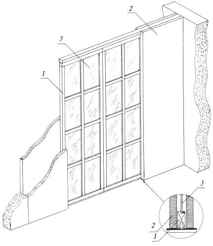 Рис.27. Устройство застекленной раздвижной перегородки: 1 – створка; 2 – карманы; 3 – стекло
