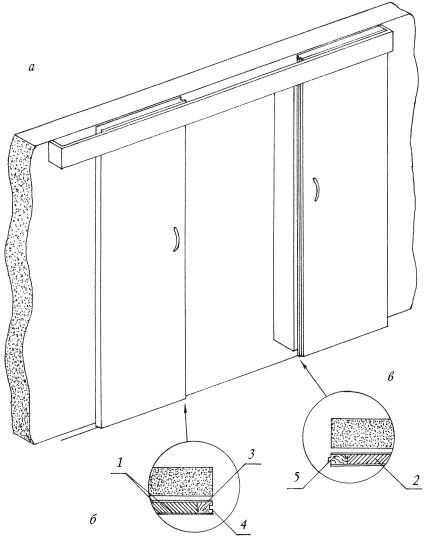 Рис.28. Устройство двухстворчатой раздвижной перегородки: а – общий вид; б, в – узлы конструкции перегородки: 1 – фанера; 2 – заполнитель; 3 – брусок; 4, 5 – узлы стыковки двух полотен дверей
