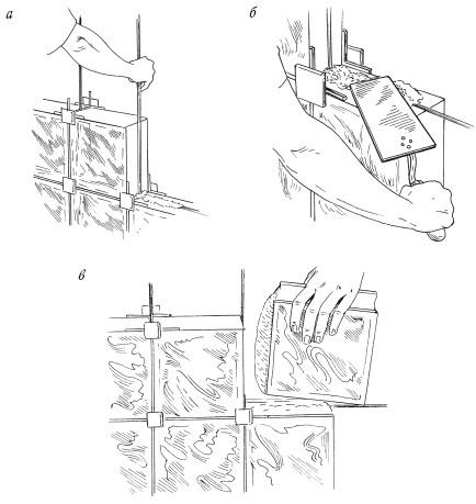 Рис.29. Монтаж перегородки из стеклоблоков с помощью распорных крестиков: а – установка крестиков и армирующих прутьев; б – нанесение раствора; в – установка стеклоблока на место