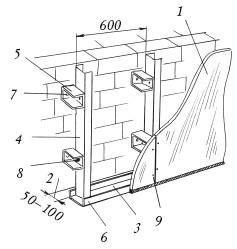 Рис.43. Крепление гипсокартона к кирпичной стене на металлические профили: 1 – лист гипсокартона;