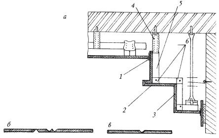 Рис.49. Пример устройства трехуровневого потолка из гипсокартона: а – общий вид; б – развертка 1-го элемента; в – развертка 2-го элемента:1 – разделительная лента; 2 – 2-й элемент; 3 – 1-й элемент; 4 – прямой подвес; 5 – ПП-профиль; 6 – угловой соединитель