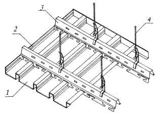 Рис.52. Устройство реечного потолка закрытого типа: