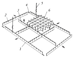 Рис.53. Монтаж ячеистого потолка: 1 – несущая направляющая; 2 – промежуточная направляющая; 3 – направляющая; 4 – соединительный элемент; 5 – подвес; 6 – решетка