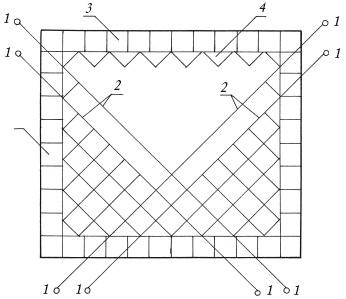 Рис.68. Облицовка стен по диагонали: 1 – штыри; 2 – шнуры-причалки; 3 – фризовые ряды плиток; 4 – половинки плиток
