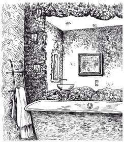 Рис.69. Художественная фактура из структурной штукатурки в ванной