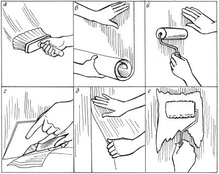 Рис.80. Последовательность отделки стены обоями под покраску: а – нанесение клея на стену; б – приклеивание полотнища; в – выравнивание поверхности валиком; г – подрезание низа полотнища; д – приклеивание второго полотнища встык; е – окрашивание поверхности обоев