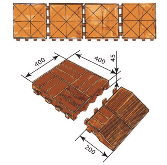 Рис. 4. Модульная террасная плитка из ДПК