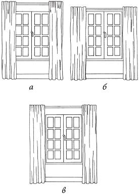 Рис. 10. Расположение карниза: а – для зрительного увеличения высоты окна; б – для визуального увеличения ширины окна; в – для увеличения размеров окна во всех направлениях