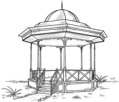 Рисунок с карандашом беседка