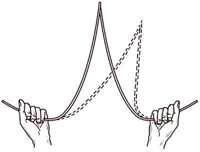 Рис. 8. Определение наибольшей глубины залегания подземных вод с помощью лозы.