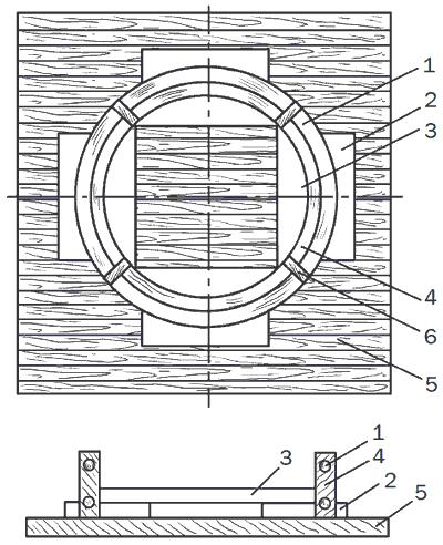 Рис. 13. Щит и опалубка для изготовления бетонных колец: 1 – арматура из проволоки; 2 – наружные распорки; 3 – внутренние распорки; 4 – опалубка; 5 – деревянный щит; 6 – деревянные вкладыши.