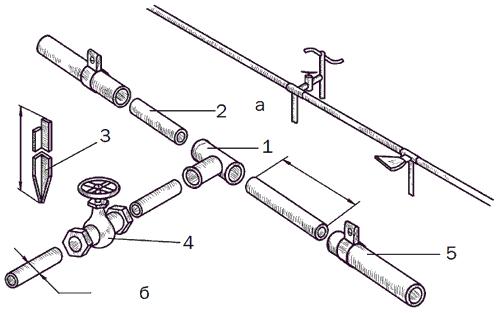 Рис. 30. Традиционная система поливочного водопровода: а – общий вид; б – монтажная схема; 1 – тройник; 2 – патрубок; 3 – стойка; 4 – кран; 5 – шланг с хомутом.