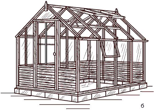 Рис. 55. Каркасы стационарных теплиц: а – алюминиевая конструкция; б – деревянная конструкция.