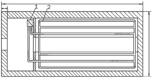 Рис. 59. План зимней теплицы с кирпичными стенами: 1 – водогрейный котел; 2 – отопительные трубы.