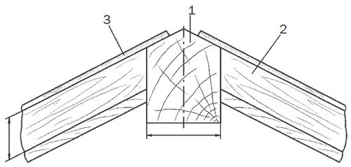 Рис. 62. Крепление шпроса с верхним коньковым брусом: 1 – верхний коньковый брус; 2 – шпрос; 3 – фальц (паз) для стекла.