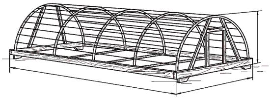 Рис. 67. Переносная теплица с каркасом из полиэтиленовых труб.