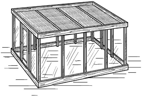 Рис. 73. Теплица с горизонтальной крышей.