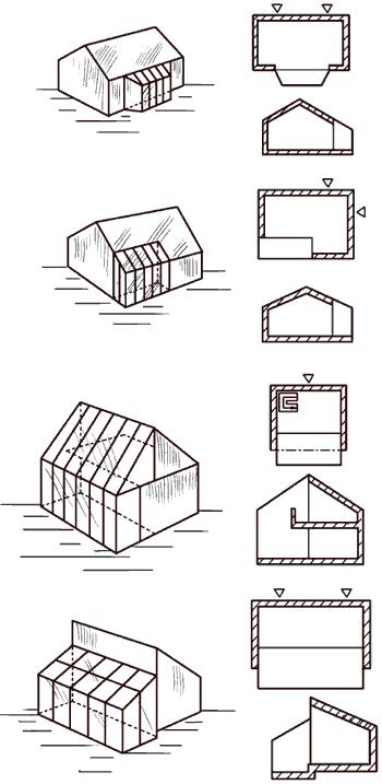 Рис. 75. Конструктивные варианты пристенных теплиц.