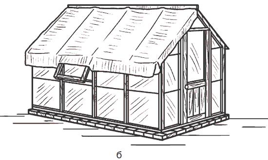 Рис. 85. Притенение теплиц: а – с помощью экранов из деревянных реек; б – с помощью светонепроницаемой пленки или ткани.