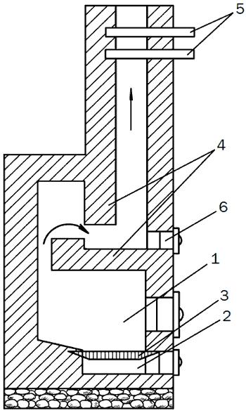 Рис. 89. Малогабаритная печь для теплицы: 1 – топочное отделение; 2 – поддувало; 3 – колосники; 4 – перегородки; 5 – задвижки; 6 – вьюшка.