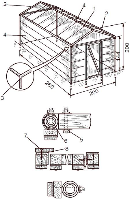 Рис. 105. Переносной парник с использованием лески: 1 – отверстия для крепления лески; 2 – трубы; 3 – вставка; 4 – леска; 5 – скоба; 6 – листовая резина; 7 – упор для двери; 8 – уголок.