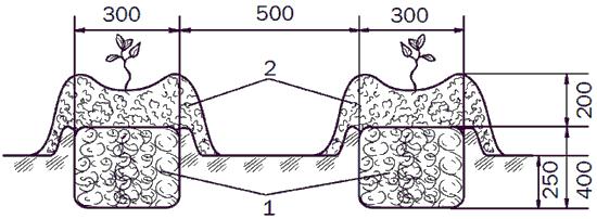 Рис. 111. Паровые гребни: 1 – биотопливо; 2 – огородная земля.