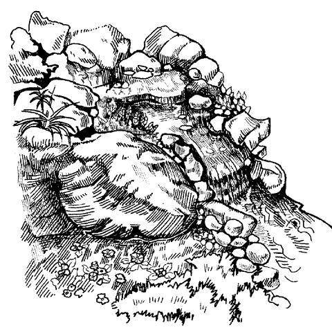 Рис. 10. Декоративный ручей, оформленный камнями