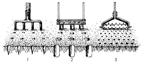 Рис. 21. Приспособления для аэрации почвы: 1 – трех– или четырехдорожковые вилы; 2 – трехтрубчатое приспособление для аэрации почвы; 3 – каток с насадкой в виде дырокола