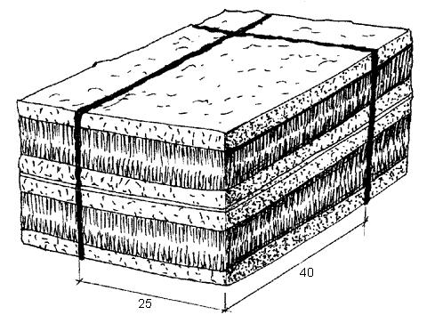 Рис. 25. Пласты дерна, уложенные в штабель
