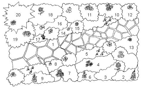 Рис. 56. Схема размещения цветов в миксбордере: 1 – дорожка, мощенная природным камнем (или под него); 2 – гладиолусы белые; 3 – флоксы розовые; 4 – астры фиолетовые и сиреневые; 5 – львиный зев абрикосовый; 6 – гладиолусы розовые; 7 – хризантемы желтые; 8 – львиный зев светло-желтый; 9 – гладиолусы красные; 10 – хризантемы розовые; 11 – львиный зев лимонно-желтый; 12 – пионы разные; 13 – ирисы разные; 14 – анютины глазки разные; 15 – гвоздика турецкая разная; 16 – петуния красная, после тюльпанов; 17 – маргаритки розовые и белые; 18 – флоксы белые; 19 – хризантемы белые; 20 – георгины красные